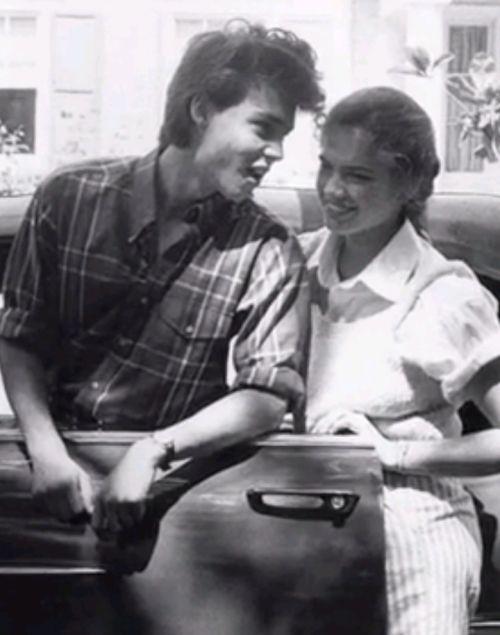 Johnny Depp and Heather Langenkamp on the set of A Nightmare on Elm Street.