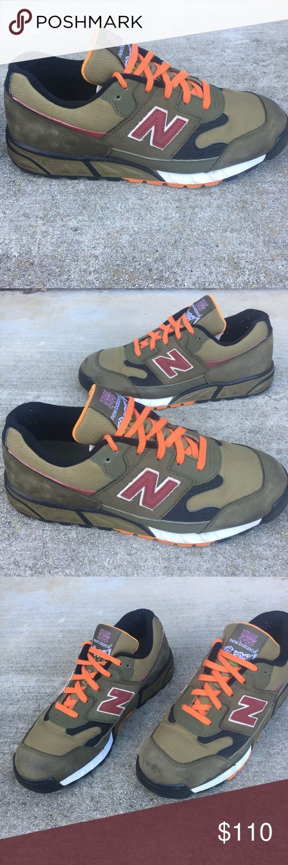 """New Balance 555 Trail MT555OR   Suede  Olive New Balance 555 Trail MT555OR  Multi  Olive Green Brown  Synthetic Suede          Heel Height: 1 1/4  """" Width:4 1/4 """" Very good pre-owned condition.  Shoes show some wear from normal used and minor scuff on left shoe (see last pic).  Please view all photos for details carefully before purchase. These are part of the description and contact if you have further questions. We washed, scrubbed, cleaned, and disinfected before list for sale.  From pet…"""