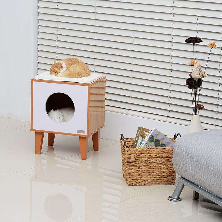 "Amazon.com : Pawhut 20"" Mid-century Modern Square Cat House - Burlywood/White : Pet Supplies"