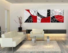 3 unidades envío gratis pared moderna de la pintura negro blanco rojo sala la decoración del hogar artes pintura en la lona impresiones(China (Mainland))