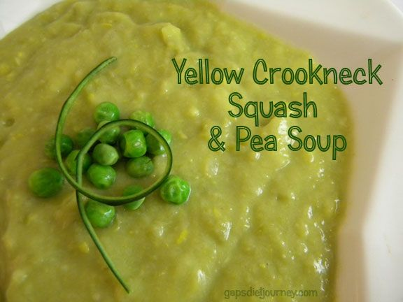 Yellow Crookneck Squash and Pea Soup (Will sub vegetable stock for the chicken stock to make it vegan.)