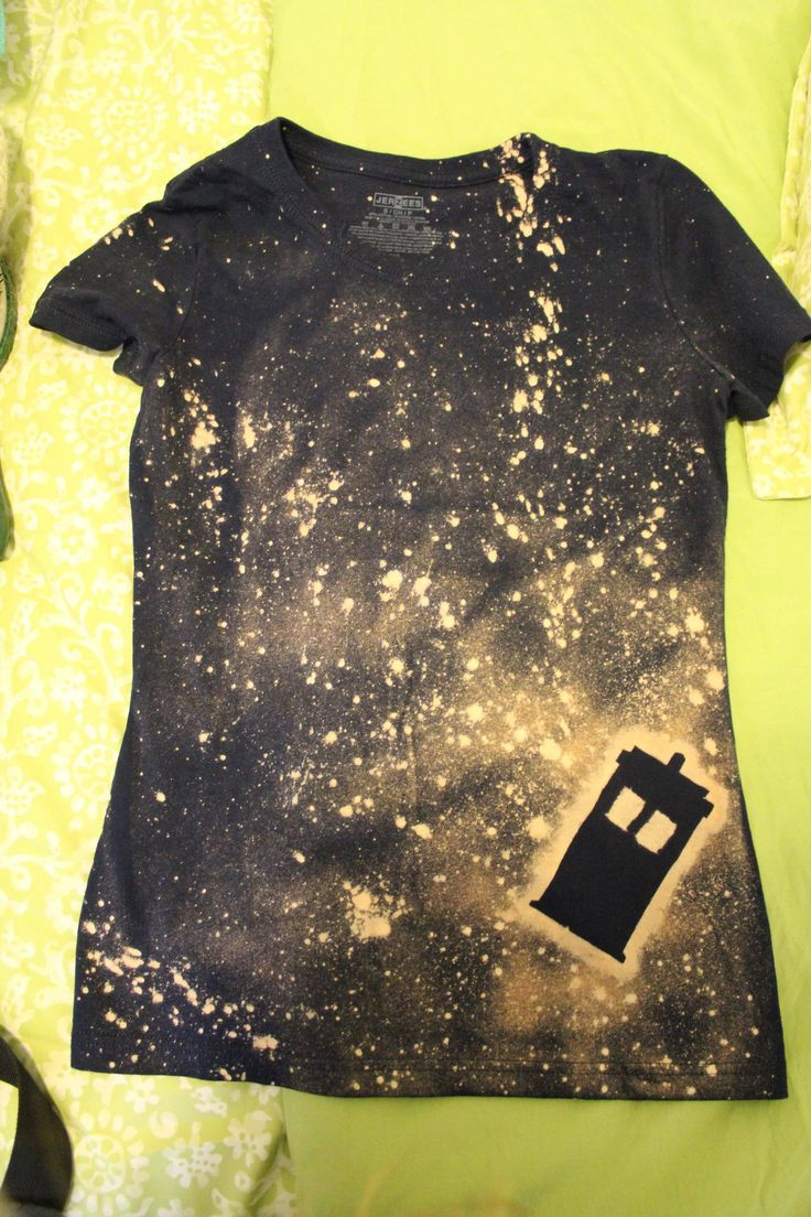 TARDIS in space bleach t-shirt - I would do another shape but I love this idea.  Maybe tie dye/splash dye after for another effect.
