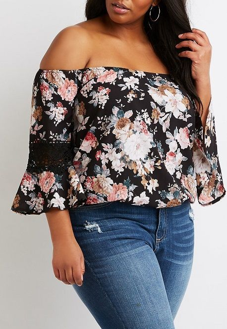 Plus Size Floral Off-The-Shoulder Top : A free flowing floral print sculpts this chiffon top! Elastic sculpts the off-the-shoulder shape while crochet trimmed bell sleeves frame the relaxed silhouette. #PlusSize ,#PlusSizeFashion ,#PlusSizeTops. #PluSizeFloralTop