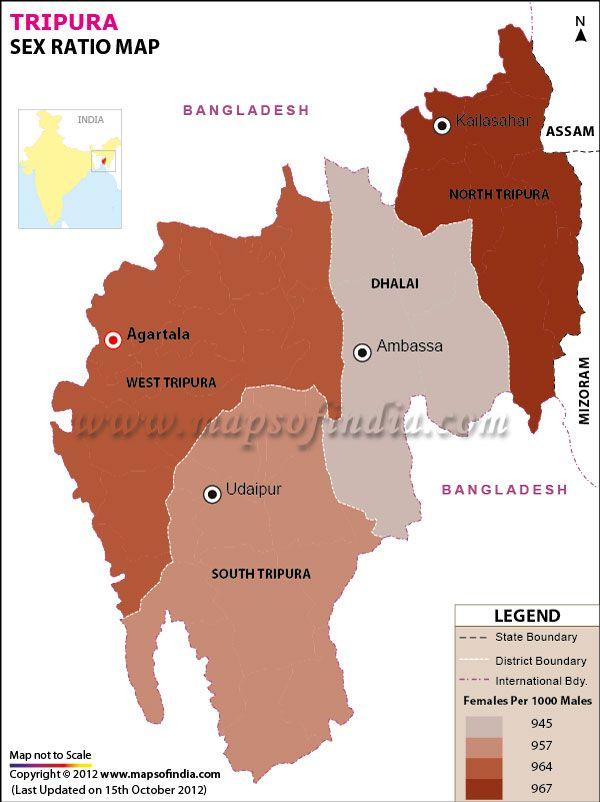 Tripura sex ratio map