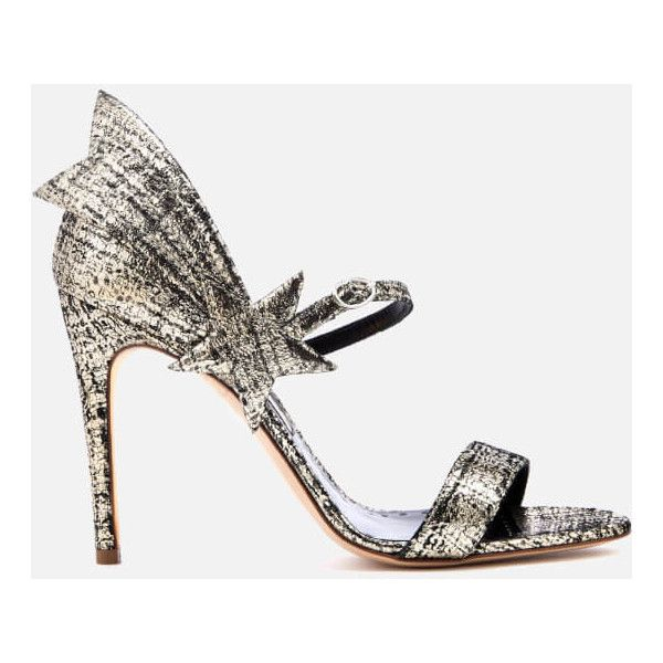 Rupert Sanderson Women's Starfire Heeled Sandals - Platinum Tweed... (32.560 RUB) ❤ liked on Polyvore featuring shoes, sandals, grey, grey sandals, grey heeled sandals, gray shoes, rupert sanderson and heeled sandals
