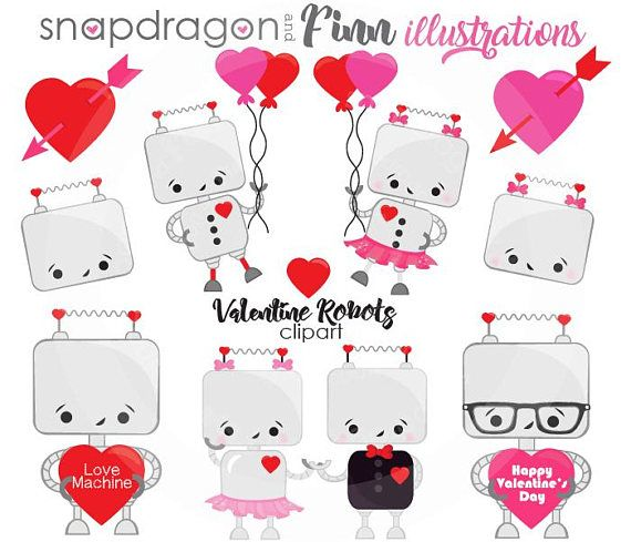 Our Valentine Robots set includes 15 unique clipart graphics including a boy robot holding a heart, boy robot with glasses holding a heart, boy robot with balloons, girl robot with balloons, boy & girl robot holding hands, girl robot with a heart in her hand, boy robot with a heart