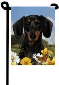 Attractive Dachshund Garden Flag   Flower Blossoms (B/T)