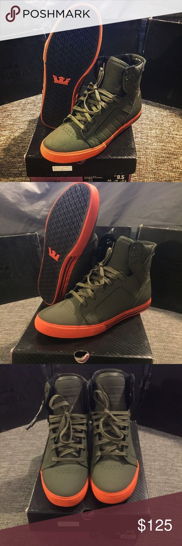 Supra Skytop Chad Muska Shoes, Size 9.5 Extremely rare authentic men's Supra Skytop Chad Muska Pro Model-Tufgreen. Army green shoes with neon orange. Tried on but never worn. Box and extra laces included. Size 9.5. Supra Shoes Sneakers