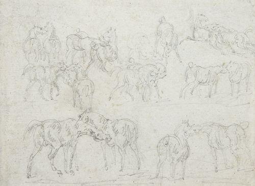 Théodore GERICAULT (1791-1824) Feuille d'étude de chevaux Crayon noir.  8,5 x 12 cm