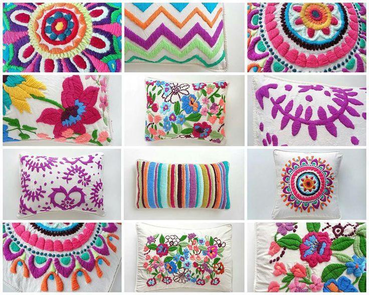 almohadones bordados a mano | Bordado mexicano | Pinterest
