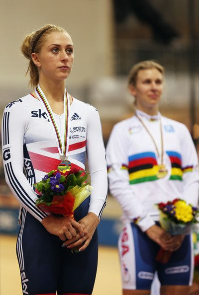 Laura Trott Photos - Laura Trott of Great Britain stands on the podium after taking the silver medal in the Women's Omnium during day five of…