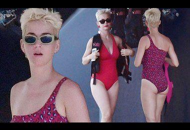 Katy Perry flaunts sensational figure in racy leopard print swimsuit