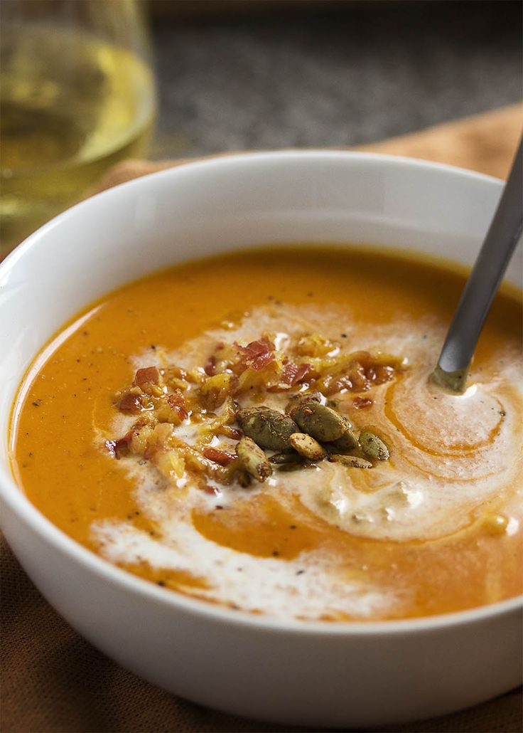 Spicy Roast Pumpkin Soup Spanish Style Recipe Yummm Soup Pumpkin Soup Spicy Pumpkin Soup