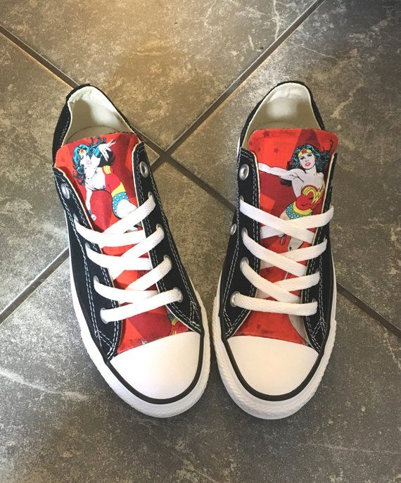 c1c3c5e79cbe Converse Shoe Color of Your Choice Wonder Woman Fabric Adhered to Tongue of  Converse Shoe
