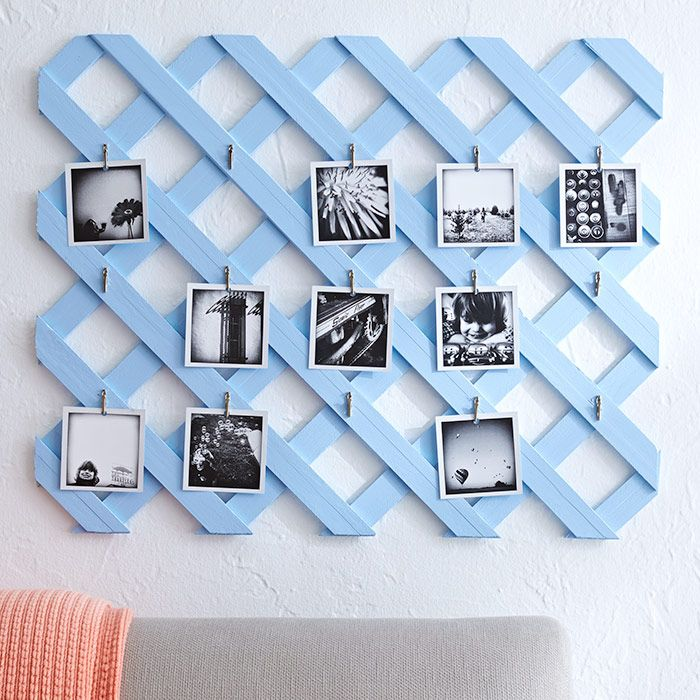 Turn small photographs into a custom collage you can update in an instant with this lattice display!