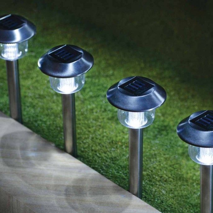4 Pack Of Stainless Steel Solar Lights | Poundstretcher