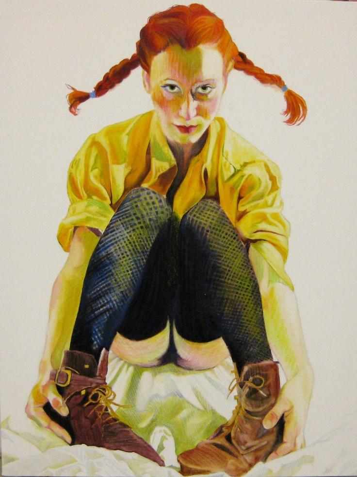 "Artist Myra Sjöberg. ""Pippi"", 100x120 cm.    Oilpastel and oil on canvas."