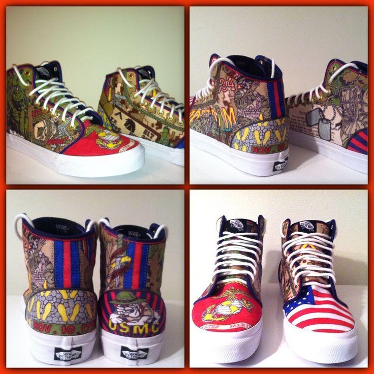 Semper Fi! USMC custom Vans shoes #USMC #Marines #SemperFi #OohRah
