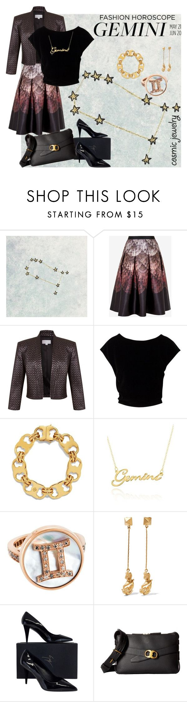 """Gemini jewelry"" by andrea-pok ❤ liked on Polyvore featuring Ted Baker, Fenn Wright Manson, Tory Burch, Belk & Co., Carolina Bucci, Valentino, Giuseppe Zanotti and cosmicjewelry"