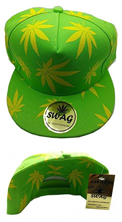 ab4724f0383 Swag Marijuana Weed Adult Adjustable Snapback Cap Glow in the Dark Baseball Cap  Hat (Lime
