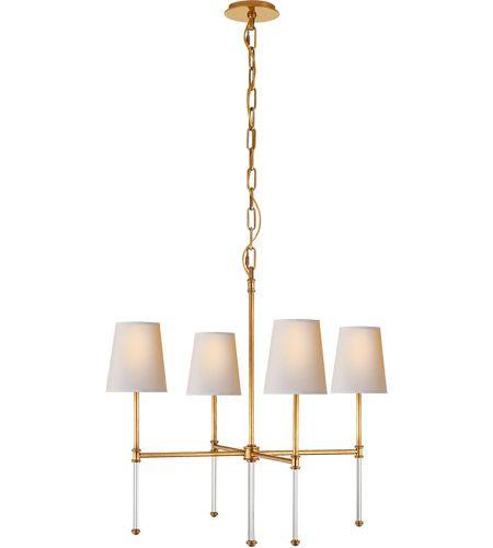 Visual Comfort SK5050HAB-NP Suzanne Kasler Camille 4 Light 27 inch Hand-Rubbed Antique Brass Chandelier Ceiling Light, Suzanne Kasler, Small, Natural Paper Shade #lightingnewyork #lny #lighting