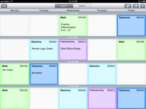 Timetable Pad ($1.99)An elegant and straightforward way to keep track of your school or uni timetable, on your iPad. ✔ Notes → Jot down assignment details and other important tasks.    ✔ Sharing → Send your timetable via email, or print with an AirPrint enabled printer.    ✔ Text Suggestion → For quicker text entry (room No. & subject title).    ✔ Class highlighting → Easily identify subjects by colour.    ✔ Two week timetable, week A & B (optional) → For those with an alternating schedules.