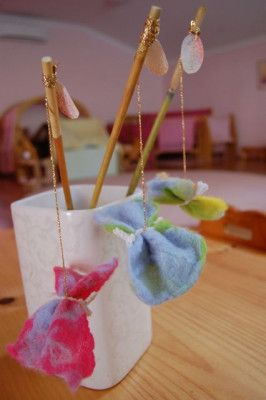 waldorf spring celebration ideas...wet felted butterflies.