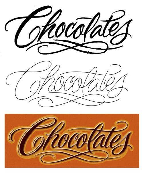 'Chocolates' In Tattoo Lettering Styles