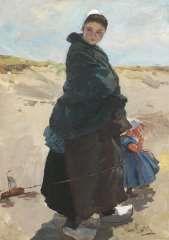 Bartels H. von, Mijmering: vissersvrouw met kind op het strand van Katwijk, olie op doek 47,6 x 33,3 cm.