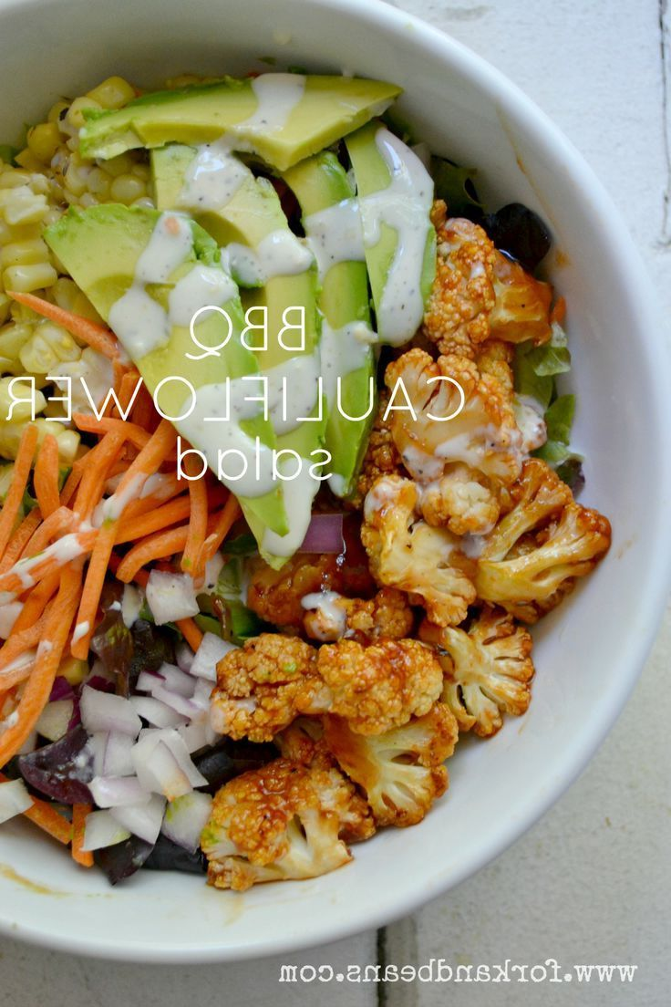 This recipe sounds yummy when you're looking to have a delicous BBQ dinner minus the meat! BBQ Cauliflower Salad #vegan #vegetarian #salad