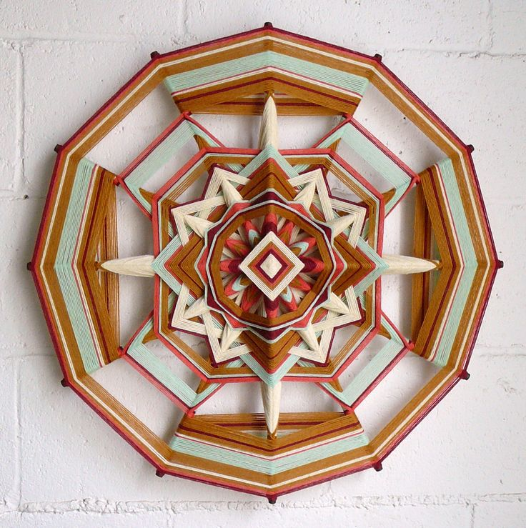 Golden Sage, an 24 inch, 12 sided, Ojo de Dios mandala, by Jay Mohler, in stock and ready to ship.  via Etsy.