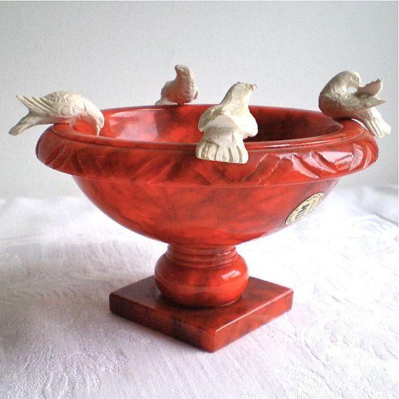 Birds Vintage Bird Bath Italian Marble Red Birdbath