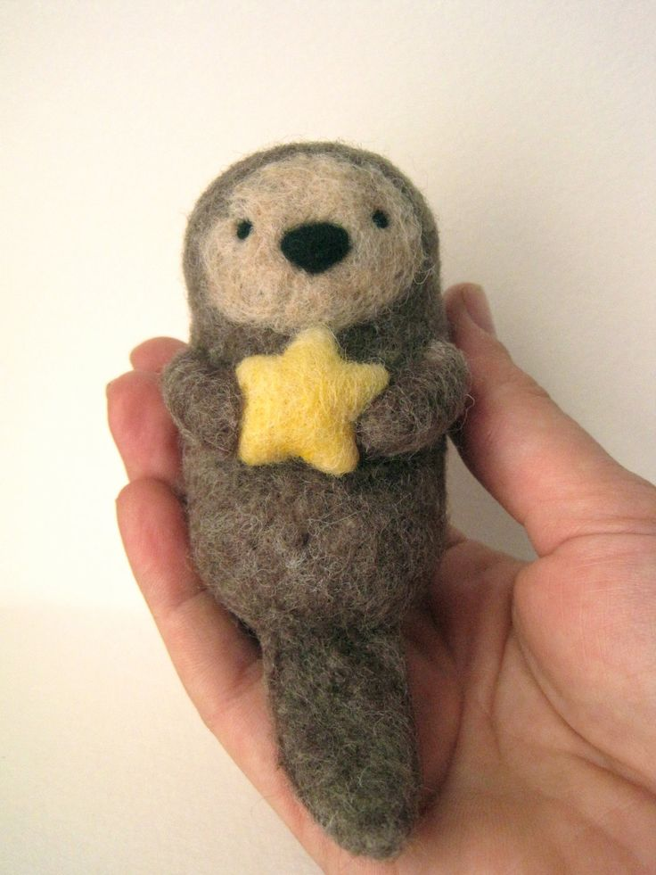 Needle Felted Sea Otter with Starfish - Stocking Stuffer. $33.00, via Etsy.