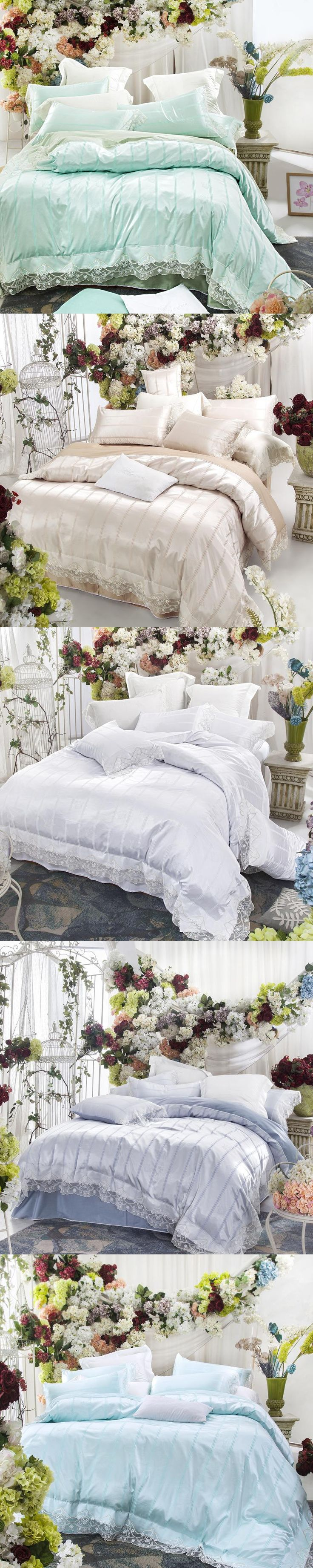 Lace edge satin jacquard Bedding set white blue green princess Bedclothes girls queen king size duvet cover set bed linen