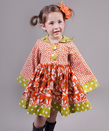 Take a look at this Orange & Green Maple Hannah Dress - Toddler & Girls by Jelly the Pug on #zulily today!