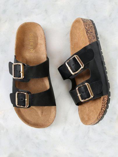 f35c5a71efe2ad Double Buckle Cork Footbed Slide Sandal