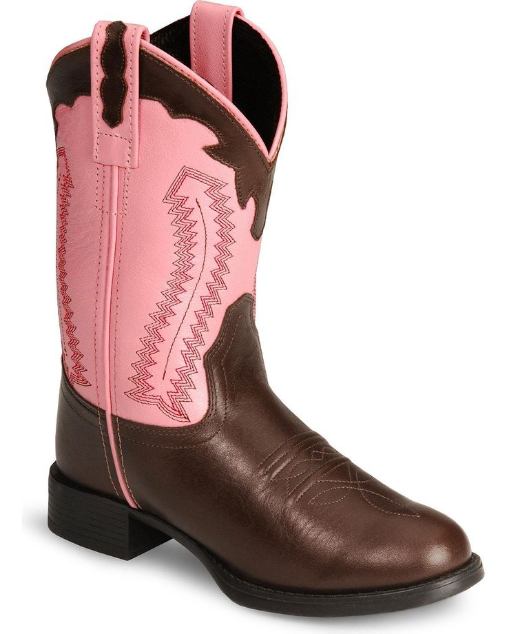 Old West Pink Childrens Girls Chestnut Leather Ultra Flex Cowboy Boots (11, Pink/Brown). No More Stiff Cowboy Boots. The Ultra Flex Cowboy Boot Flexes And Moves For Kid-Wearing-Ease. Genuine brown and pink leather cowgirl boots. Fancy overlay boot collar and pull strap detail.