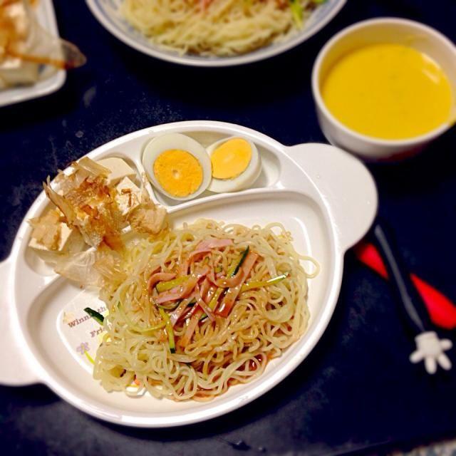 子どものためのプレートごはん - 9件のもぐもぐ - 冷やし中華☆冷や奴☆ゆでたまご☆かぼちゃスープ by mamekoon