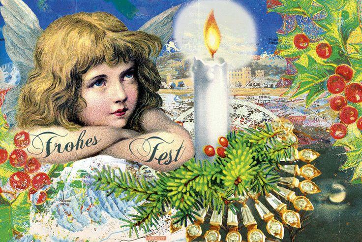 weihnachtskarte engel mit kerze mistel zweig  etsy