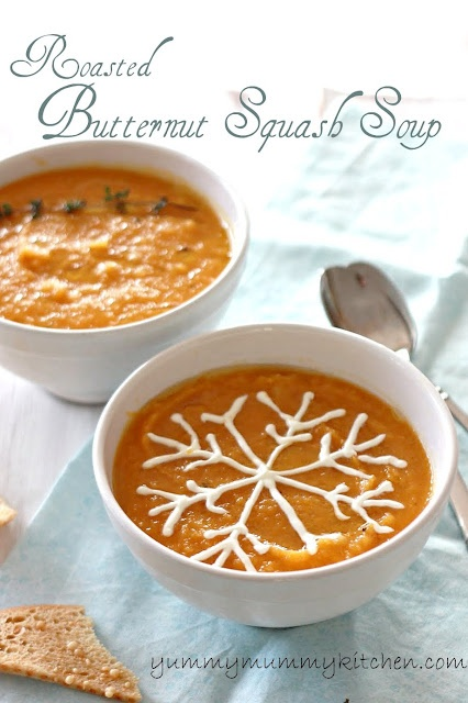 Roasted Butternut Squash Soup from Yummy Mummy Kitchen. How awesome is that snowflake garnish? I assume it is creme freche. My kids would love this! Might even get them to try something so new.Mummy Kitchens, Sour Cream, Butternut Squash Soup, Food, Snowflakes, Soup Recipe, Yummy Mummy, Butternut Squashes Soup, Roasted Butternut Squashes