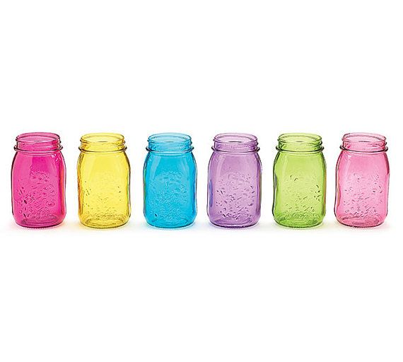 Mason Jars Rainbow Colored Glass 16oz Set of 6 by MasonJarMaven