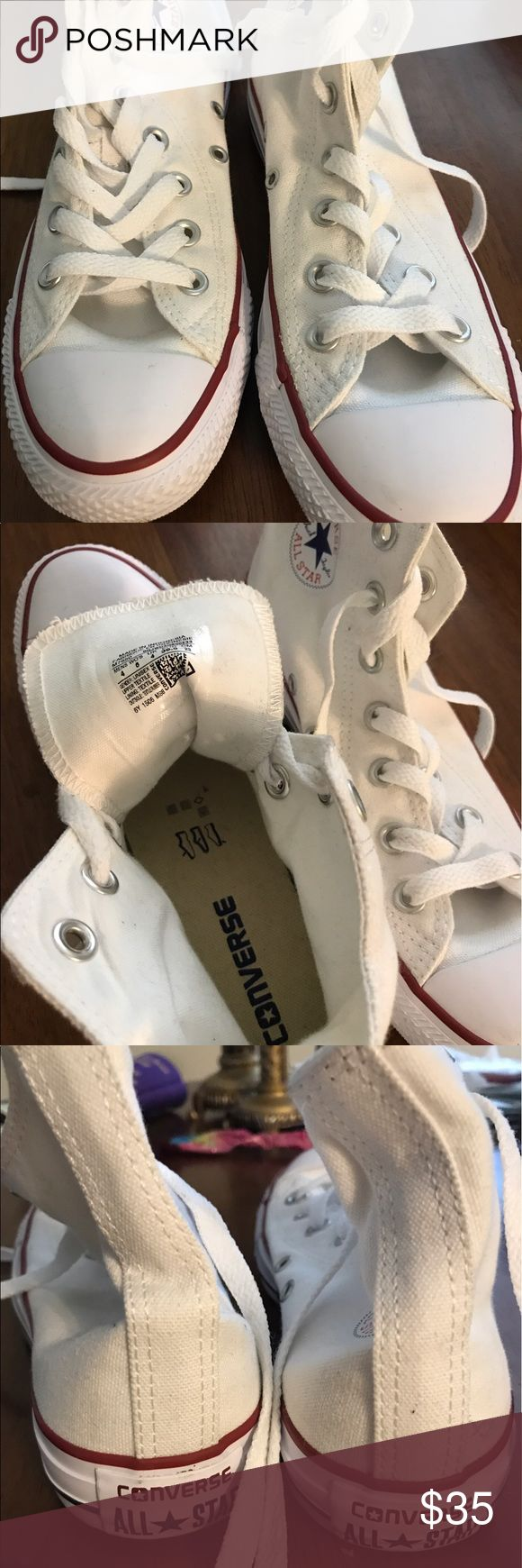 All the rage Converse high top White Converse high top worn only once.  Unisex so could be for boy, girl, or lady. Converse Shoes Sneakers
