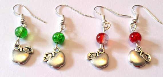 Apple earrings  great teacher gift by WillowCraftsx on Etsy