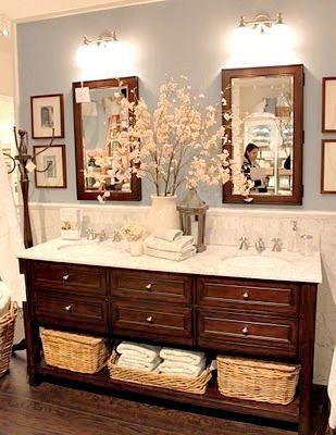 blue  white modern farmhouse bathroom                                                                                                                                                      More