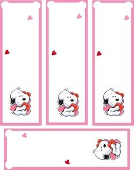 Printable Valentine Bookmarks | Baby Snoopy Valentine, Valentines, Bookmarks - Free Printable Ideas ...