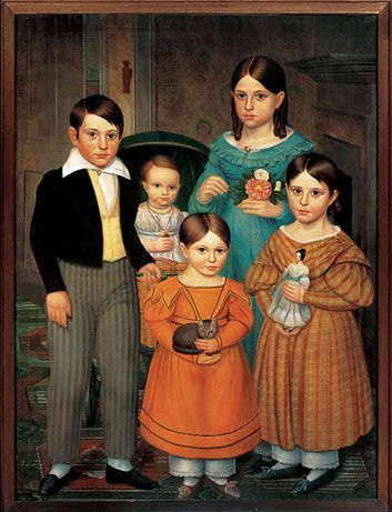 The Farwell Children, painting attributed to Robert Peckham, circa 1841.  At American Folk Art Museum in NYC .... May 2012