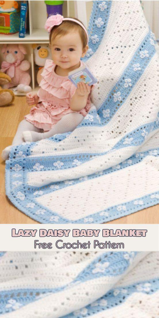 Lazy Daisy Baby Blanket [Free Crochet Pattern]