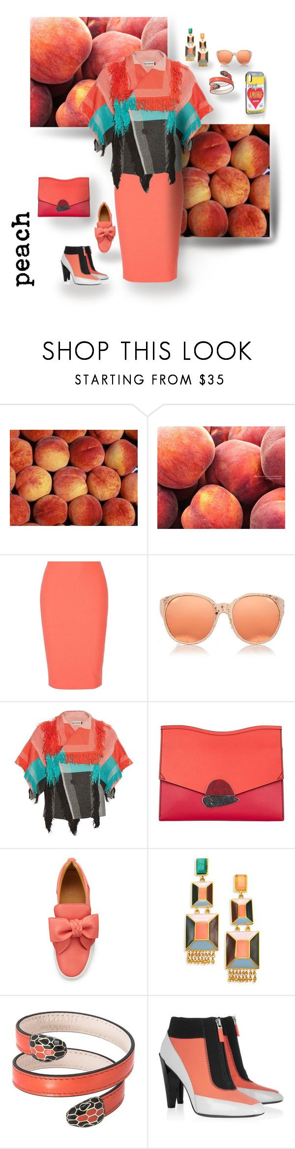 """PEACH!"" by hrhjustcuz ❤ liked on Polyvore featuring Elizabeth and James, Linda Farrow, Issey Miyake, Proenza Schouler, BUSCEMI, Paula Mendoza, Bulgari, Kenzo and Dolce&Gabbana"