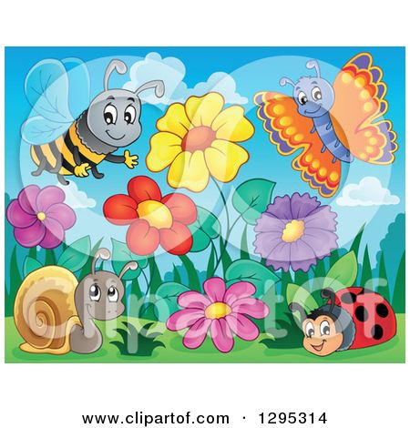 Clipart of a Spring Flower Garden with a Cartoon Happy Bee ...