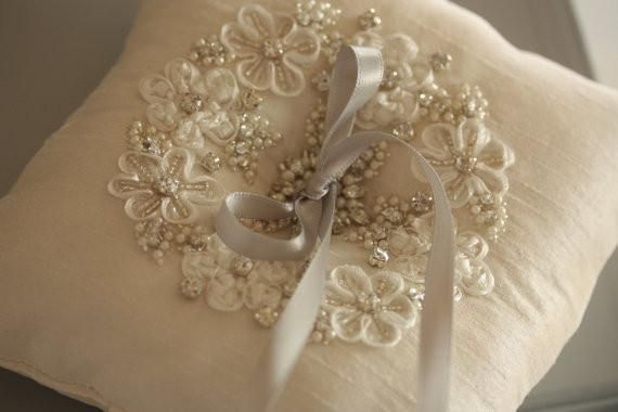Bridal ring pillow in ivory